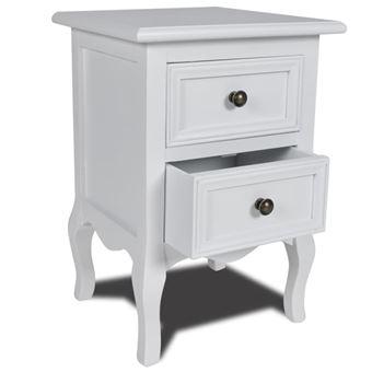 vidaxl table de chevet en pin bross avec 2 tiroirs blanche achat prix fnac. Black Bedroom Furniture Sets. Home Design Ideas