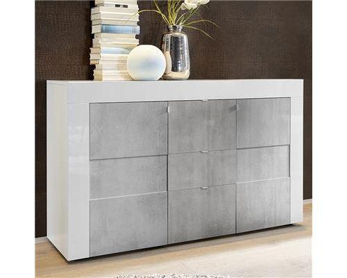 Bahut blanc laqué brillant et effet béton FACTORY 3 - Blanc - L 138 x P 42 x H 84 cm