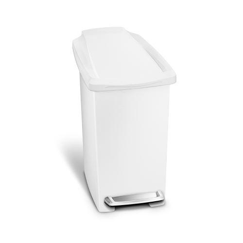simplehuman Poubelle Étroite À Pédale en Plastique Blanc 10L