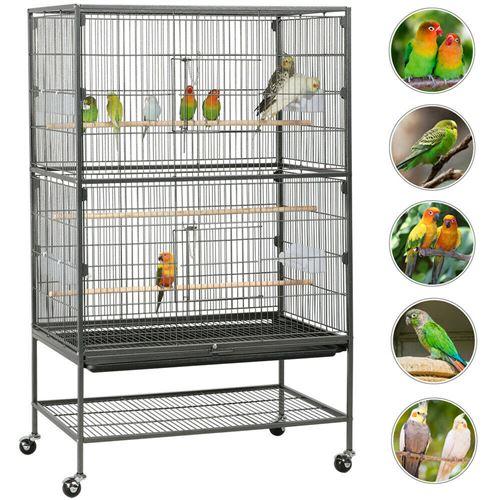 Cage à oiseaux en métal avec roulettes 79 x 52x 132 cm pour perruches, perroquets, pigeons