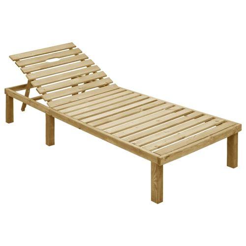 Chaise longue en bois de pin imprégné 200 x 70 x 31,5 cm