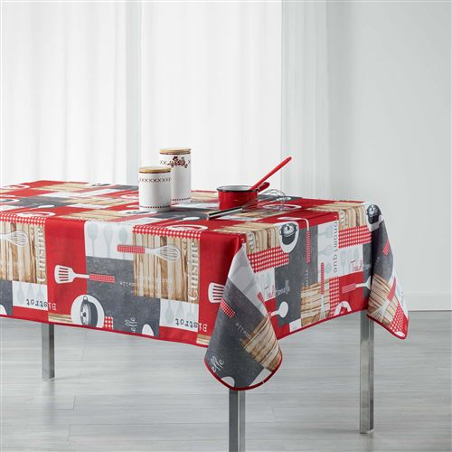 nappe rectangle 150 x 240 cm polyester imprime cuisine gourmande