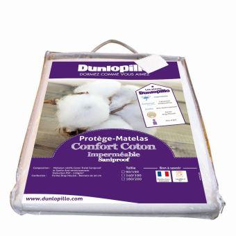 21 57 sur prot ge matelas confort coton imperm able saniproof dunlopillo 140x190 cm achat. Black Bedroom Furniture Sets. Home Design Ideas