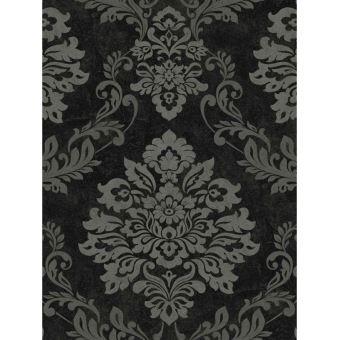 Palazzo Vinyle Papier Peint Texture Damasse Noir Et Argent Decors