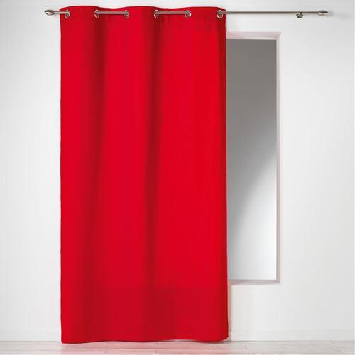 Rideau a oeillets 140 x 240 cm coton uni panama Rouge