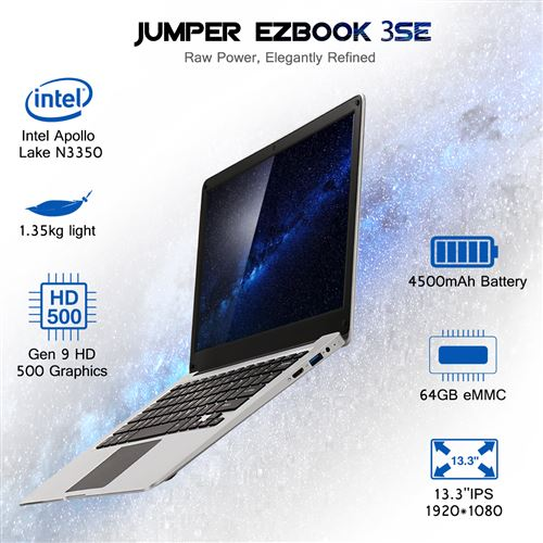 PC Portable JUMPER EZbook 3SE support Windows 10 3+64Go Argent (Qwerty)