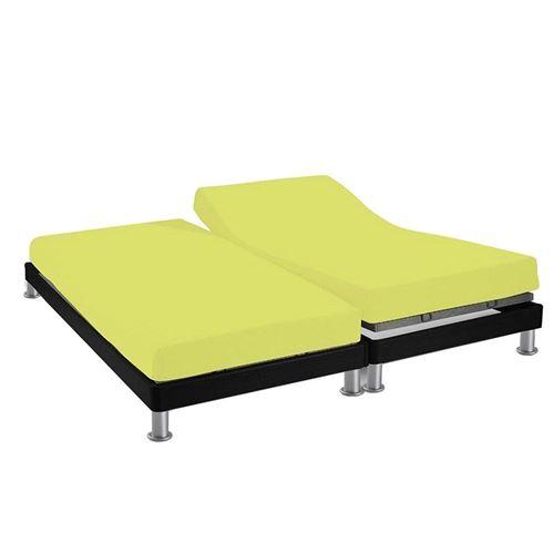 Drap housse 2x80x200 cm en coton 57 Fils SOLEIL D'OCRE uni vert, pour lit à tête et pieds relevables