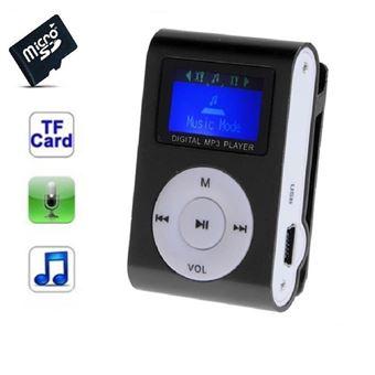 Lecteur MP3 8 Go - à carte mémoire - clip ceinture - Ecran LCD - Noir