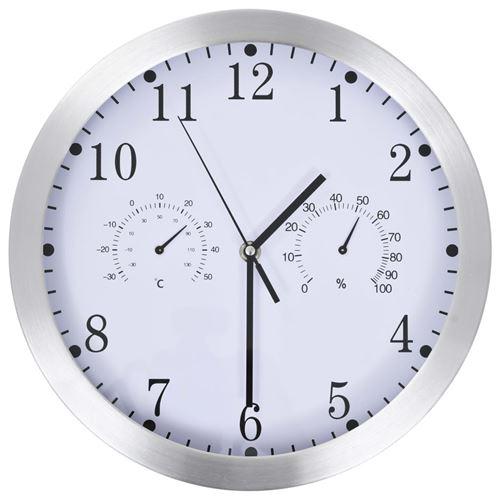vidaXL Horloge murale à quartz Hygromètre et thermomètre 30 cm Blanc