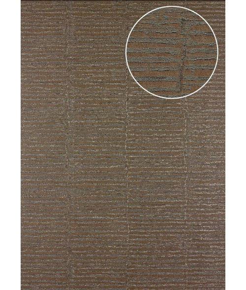 Papier peint à rayures Atlas 24C-4505-3 papier peint intissé texturé avec un dessin graphique et des accents métalliques brun beige-gris bronze 7,035 m2