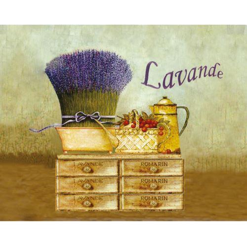 Torchon en coton décoré - Lavande