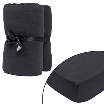 linge de lit 120 x 200 vidaXL 2 draps housses anthracite en coton jersey Linge de lit 120  linge de lit 120 x 200
