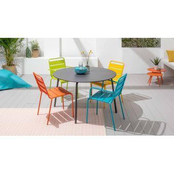Table de jardin ronde et 6 fauteuils en acier, Palavas - Gris ...