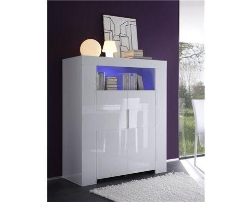 Buffet haut blanc laqué 2 portes avec éclairage LED design ELEONORE