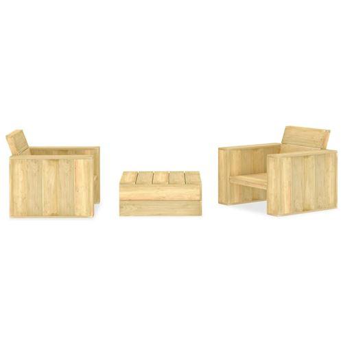 chunhe Salon de jardin 3 pcs Bois de pin imprégné AB3053202