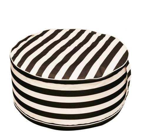Pouf gonflable en textile coloris blanc / noir - 56 x 56 x 25 cm -PEGANE-