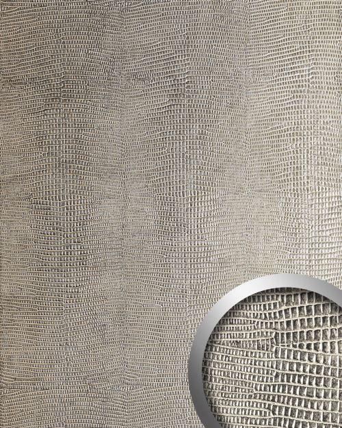 Panneau décoratif aspect cuir WallFace 19781 Antigrav LEGUAN Silver Revêtement mural lisse d'aspect cuir d'iguane mate autoadhesivo argent beige-gris 2,6 m2