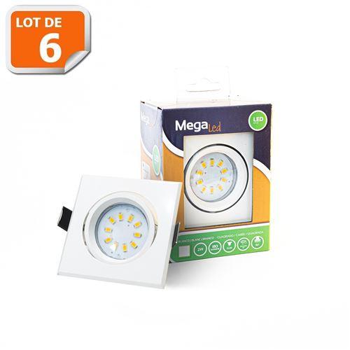 Lot 6 Spots encastrables LED amovibles Blanc 2W - Equivalent 50W - Mega Led CL10GU-SW50W