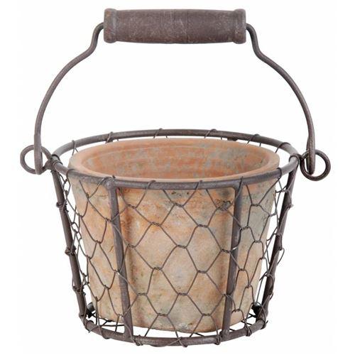 L'Héritier Du Temps - Joli petit panier décoratif avec anse et son pot en terre cuite intérieur ou extérieur panière grillagée en fer 9,5x13x15,5cm