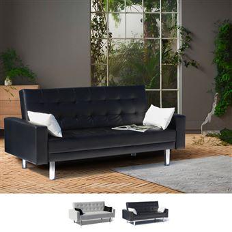 8113445f068e1 -120€ sur Canapé convertible double 2 places en simili cuir avec accoudoirs  et oreillers AGATA, Couleur: Noir - Achat & prix | fnac
