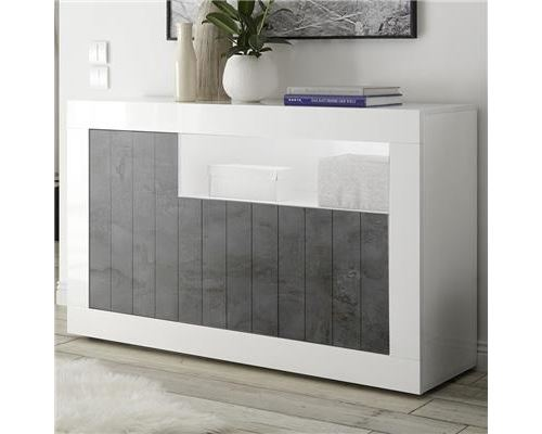 Bahut 140 cm moderne blanc et gris foncé SERENA 6 - Blanc - L 138 x P 42 x H 86 cm