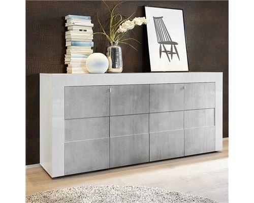 Bahut blanc laqué brillant et effet béton FACTORY - Blanc - L 181 x P 42 x H 84 cm