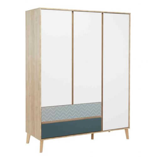 Armoire 3 portes 2 tiroirs en bois imitation chêne clair - AR5046