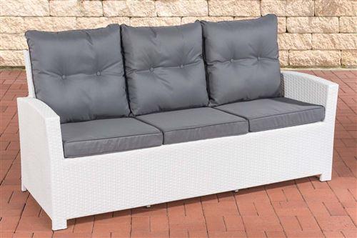 Canapé de Jardin Fisolo 3 places en polyrotin , Blanc /Gris fonte