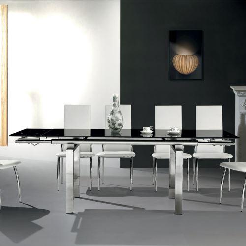 737€09 sur Table à manger en verre noir et métal chromé JULINE - L ...