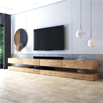 meuble tv suspendu meuble de salon mural hylia double 2x140 cm chene wotan sans led style moderne