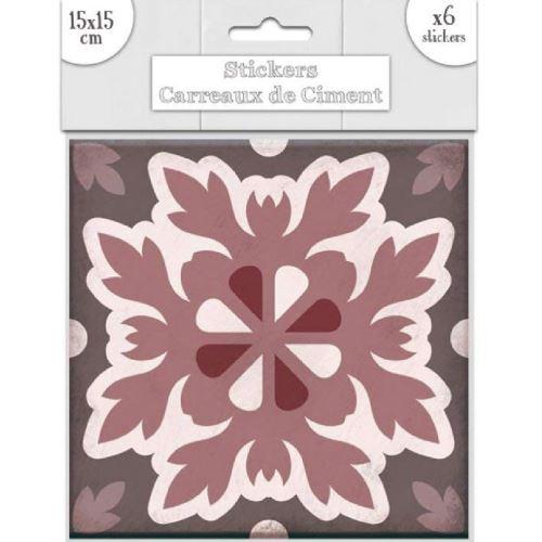 6 stickers carreaux de ciment Marron 15 x 15 cm