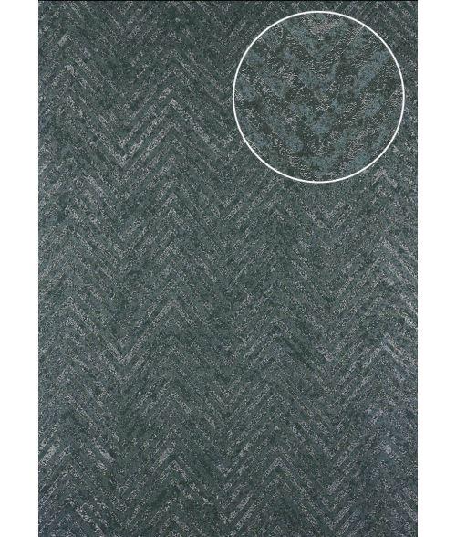 Papier peint à rayures Atlas 24C-5505-1 papier peint intissé texturé avec un dessin de chevrons et des accents métalliques gris bleu-acier argent 7,035 m2