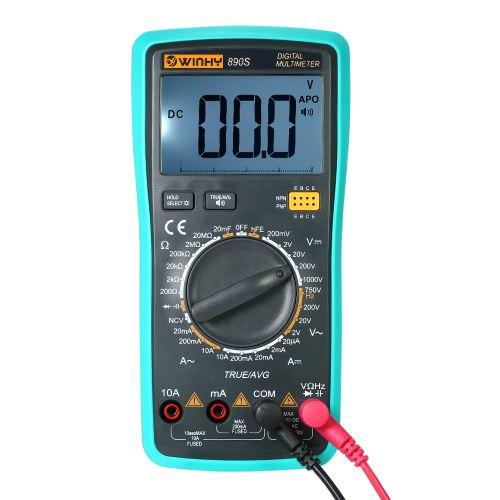 WINHY Multi-fonctionnelle Handheld LCD Digital Voice NCV Vrai RMS Multimètre DC / AC Tension Courant Mètre Capacité Résistance Diode Testeur