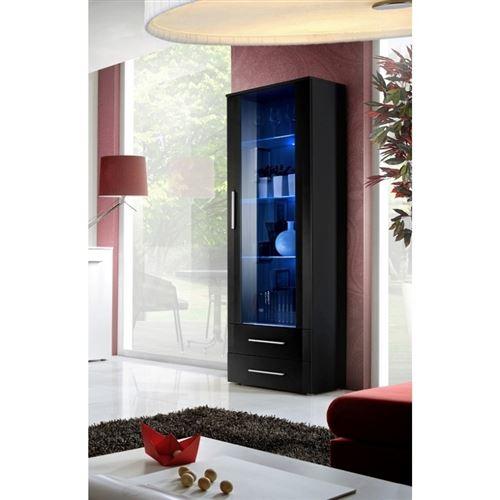 Vitrine NEO I design, coloris noir et noir brillant, tiroirs noirs brillants + LED.