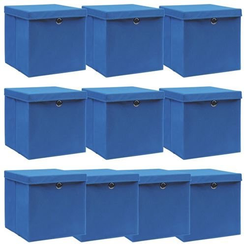 vidaXL Boîtes de rangement avec couvercle 10 pcs Bleu 32x32x32cm Tissu