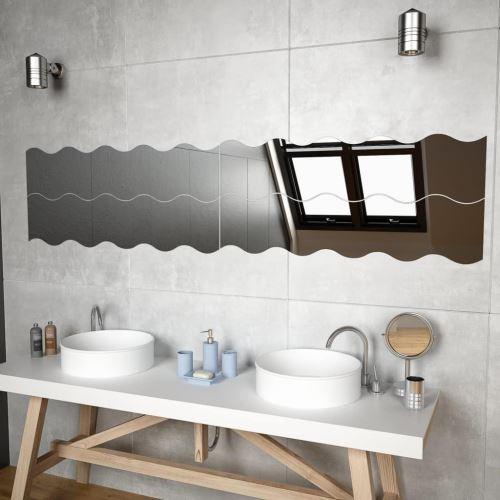Miroir Mural Miroirs en verre Miroir Décoration pour Salon miroir Salle de Bains 4 PCS 110 x 23 cm