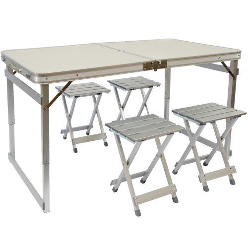 AMANKA Table de Camping pliable réglable en hauteur 120x70x70cm incl 4 Tabourets extra robuste plian