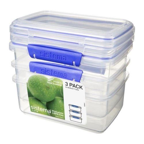SISTEMA Lot de 3 boîtes alimentaires rectangulaires a clips - 1L