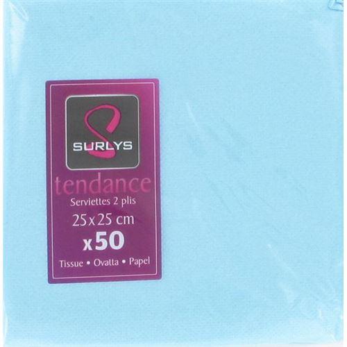 50 serviettes cocktail 25*25 - turquoise