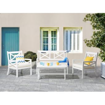Beliani - Salon de jardin en bois blanc - coussins beiges ...