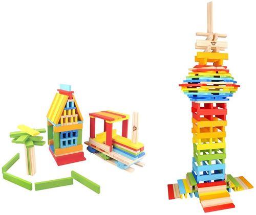 Tooky Toy jeu de blocs junior 12 x 2,2 cm bois 150 pièces