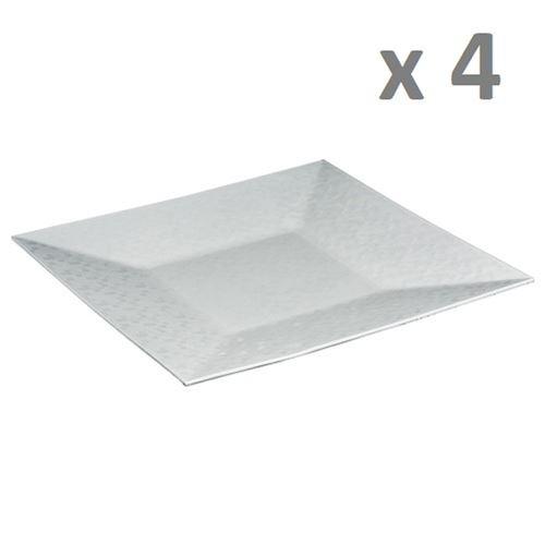 Lot de 4 - Assiette de présentation Pixel - Vaisselle de Noël - Blanc