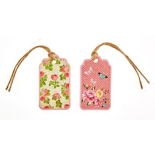 12 tag romantique fleurs et pois