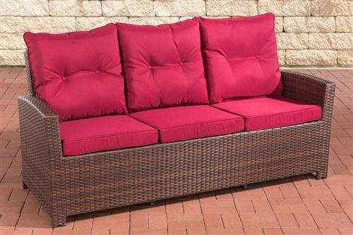 Canapé de Jardin Fisolo 3 places en polyrotin , Marron marbré/Rouge rubis