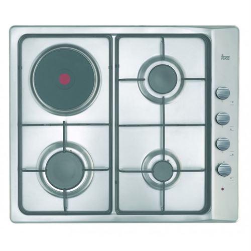 Teka _EASY E/60.3 3G 1P AL - Table de cuisson gaz et électrique - 4 plaques de cuisson - Niche - largeur : 57 cm - profondeur : 48 cm - acier inoxydable - sans cadre - acier inoxydable