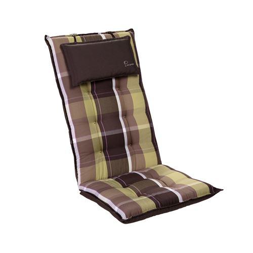 Coussin de chaise de jardin -Blumfeldt Sylt -120 x 50 x9 cm -1 pièce -Carreaux Verts