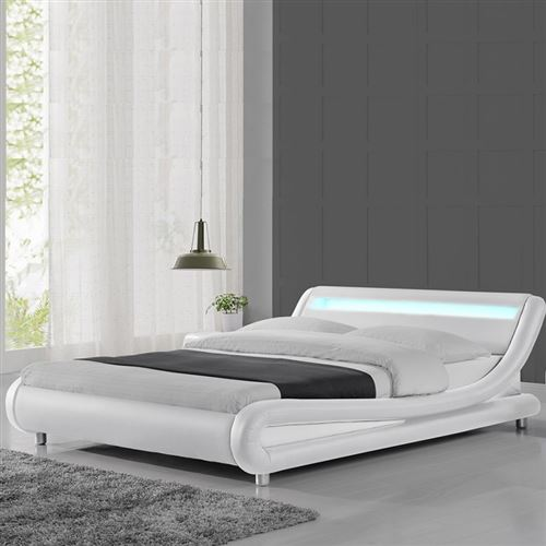 Lit led design Julio - 160x200 - Blanc