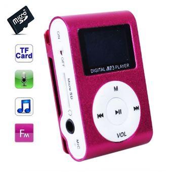 Lecteur MP3 4 Go - à carte mémoire - clip ceinture - Ecran LCD - Radio FM - Rouge