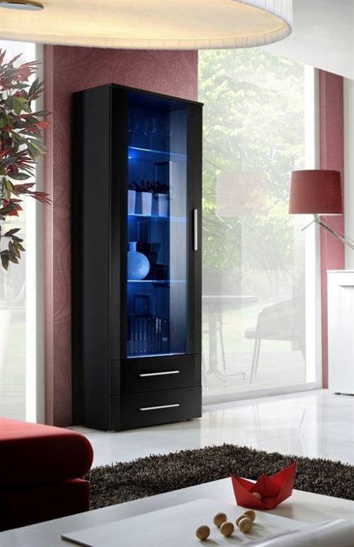 Paris Prix - Vitrine Led Design neo 190cm Noir Brillant