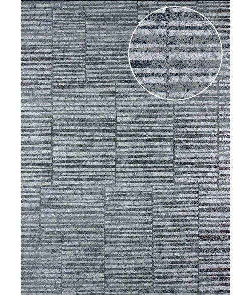 Papier peint à rayures Atlas 24C-6505-3 papier peint intissé lisse avec un dessin graphique et des accents métalliques argent platine blanc gris 7,035 m2